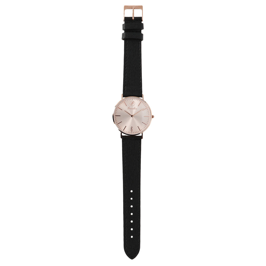 Indici Heritage Rose Dial BLACK LEATHER bracelet