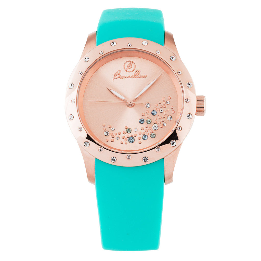 Indici Starry Sky Watch MULTI COLOR CZ-ROSE DIAL + LIGHT BLUE CAUCCIU
