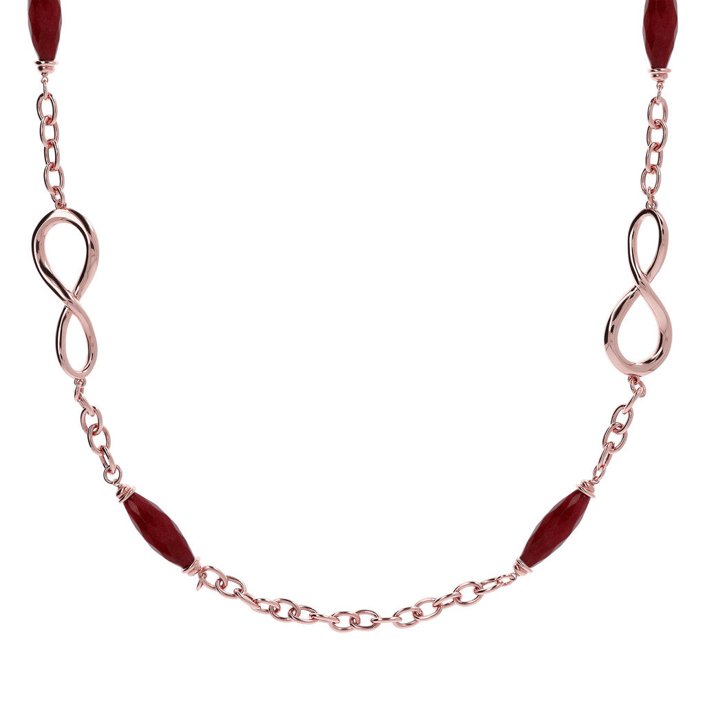 Infinity Long Necklace with Gemstones WINE AGATE