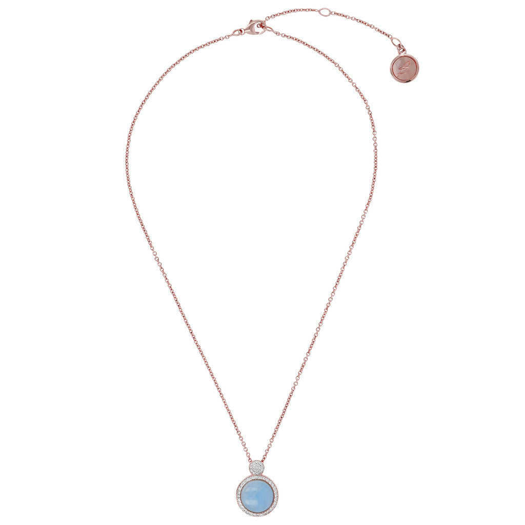 Italian Necklace MILKY AQUAMARINE from above