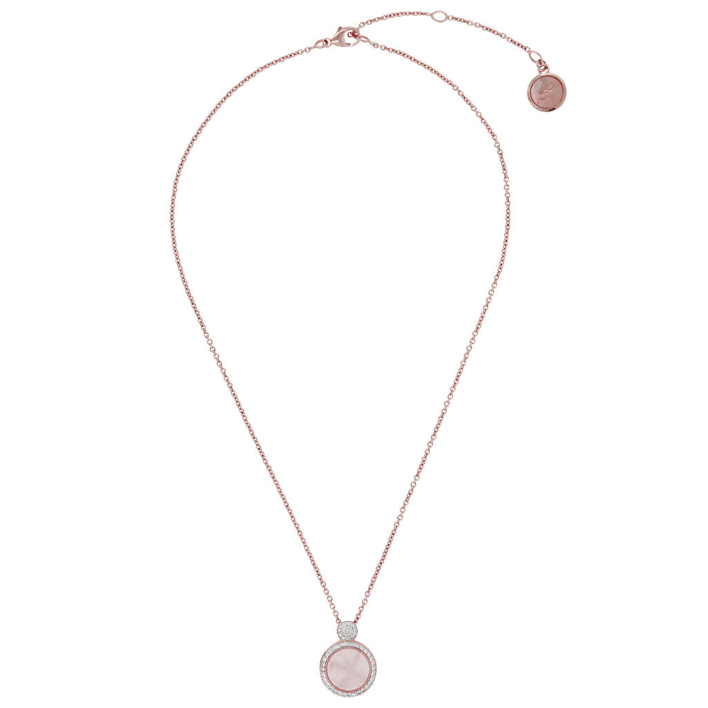 Italian Necklace ROSE QUARTZ from above