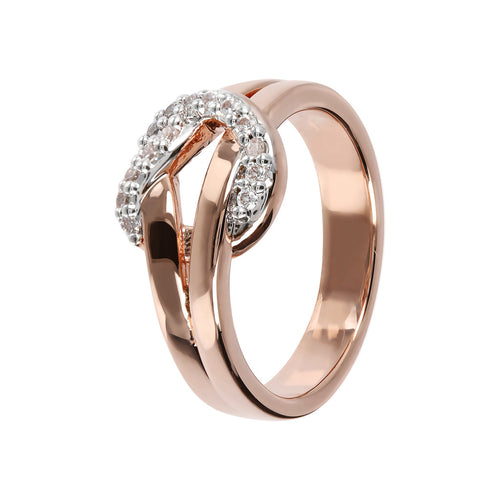Knot Ring CZ and Golden Rosè