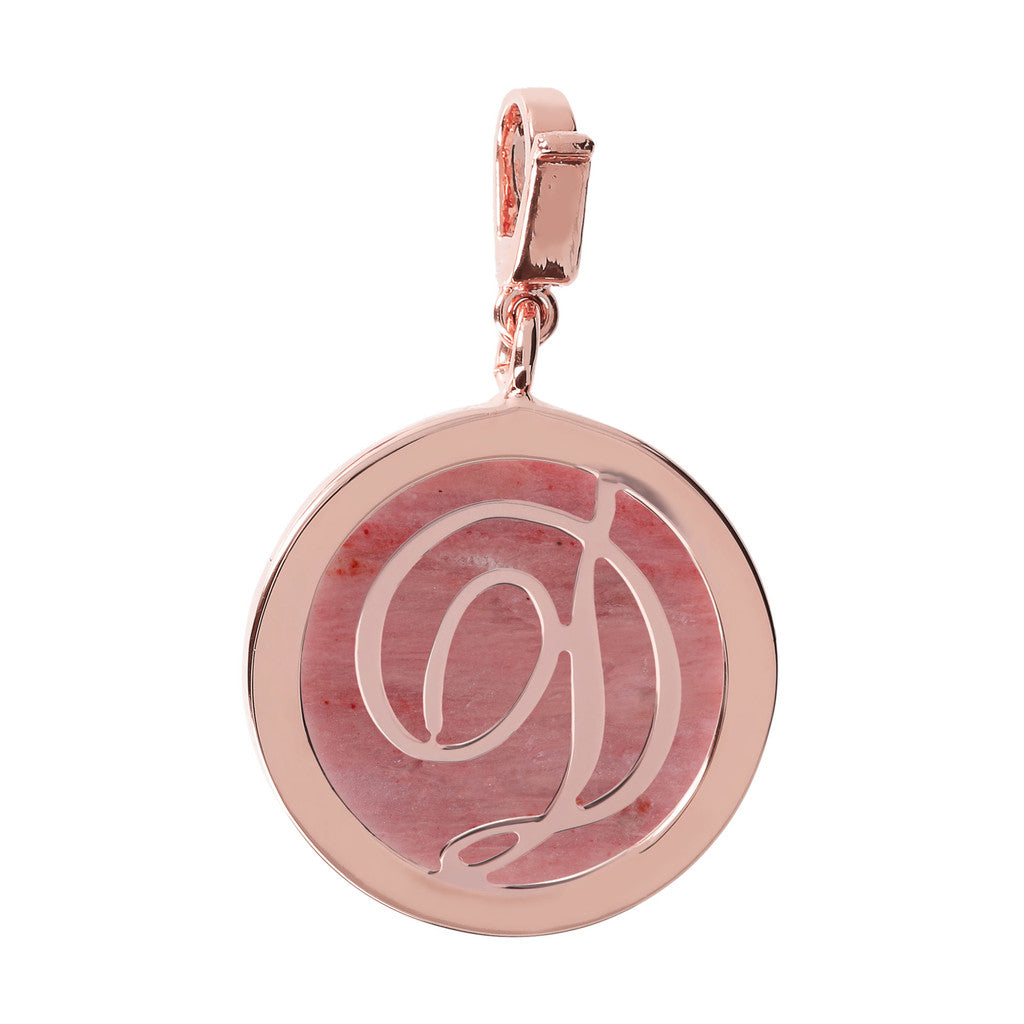 Letter Charm in Red Fossil Wood RED FOSSIL WOOD-D