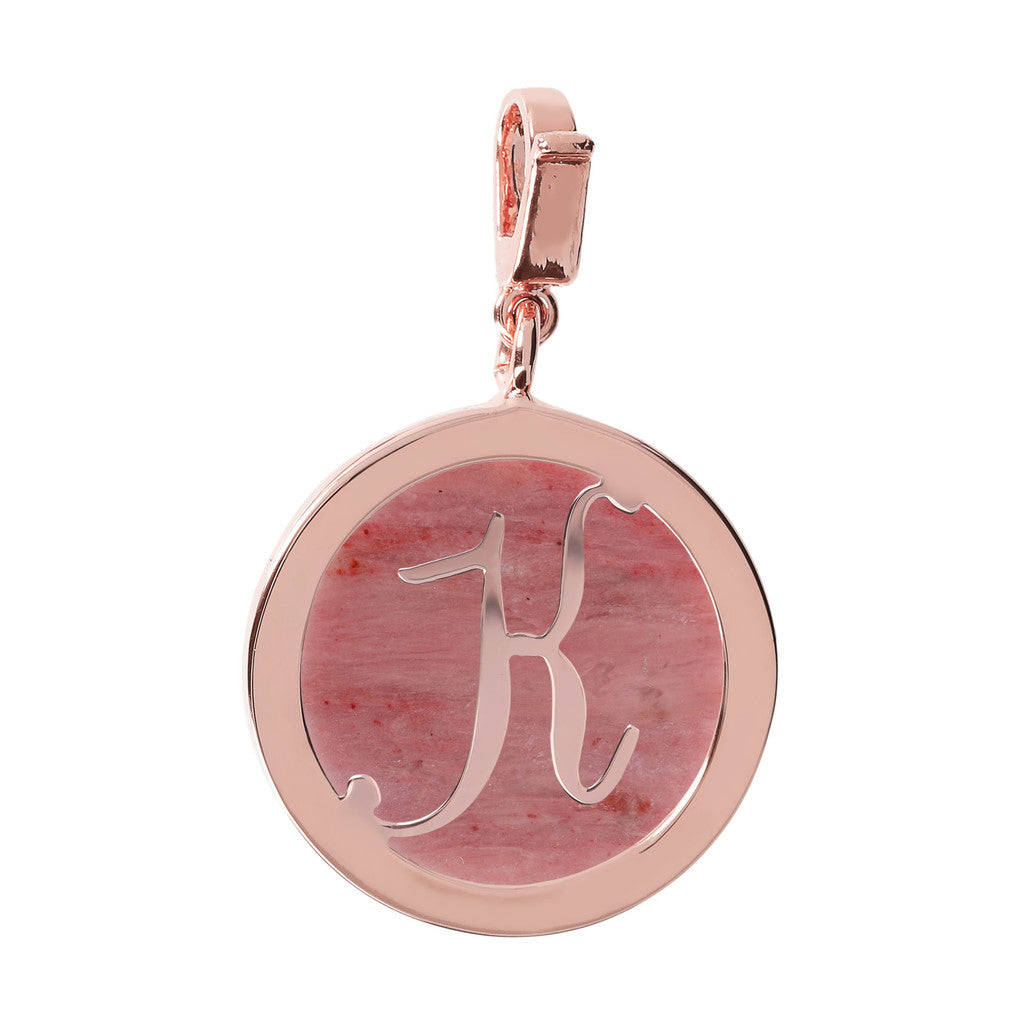 Letter Charm in Red Fossil Wood RED FOSSIL WOOD-K