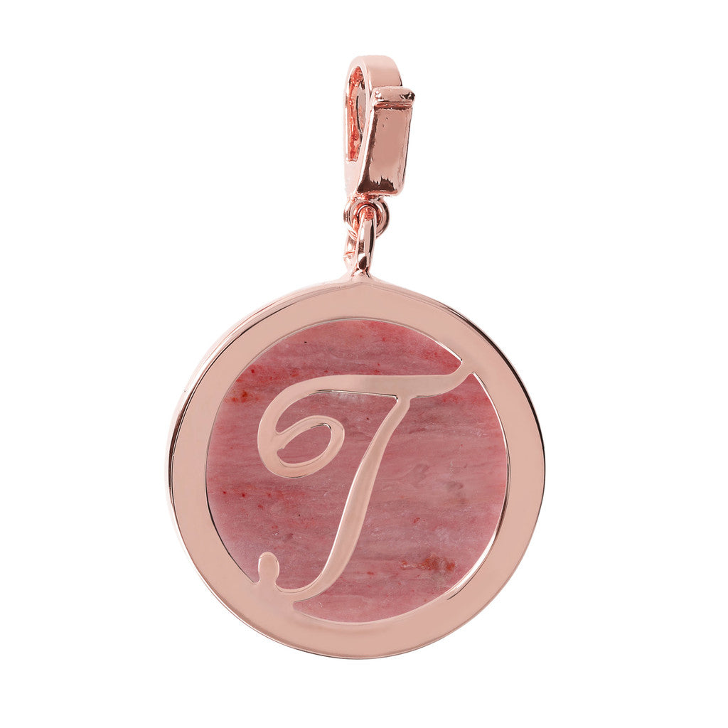 Letter Charm in Red Fossil Wood RED FOSSIL WOOD-T