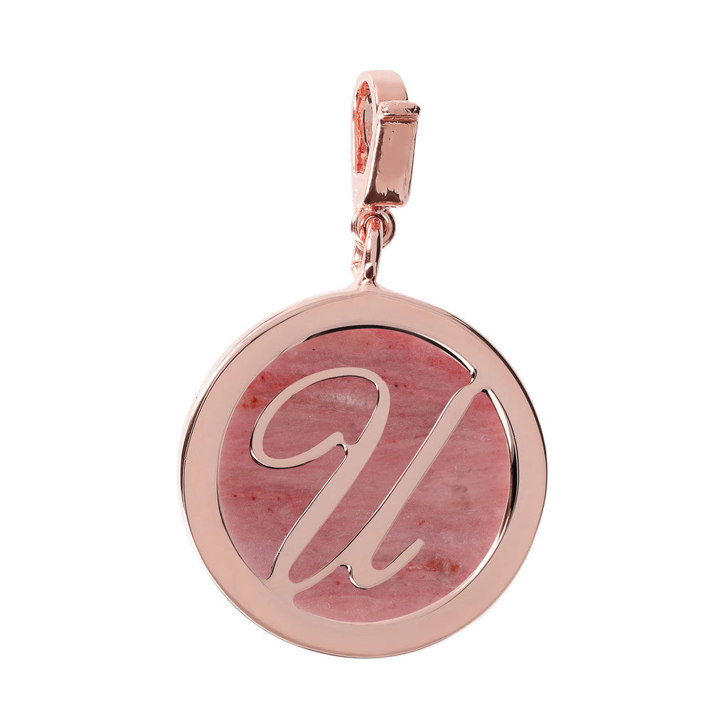 Letter Charm in Red Fossil Wood RED FOSSIL WOOD-U