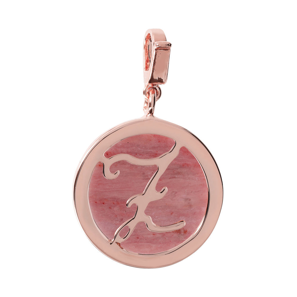 Letter Charm in Red Fossil Wood