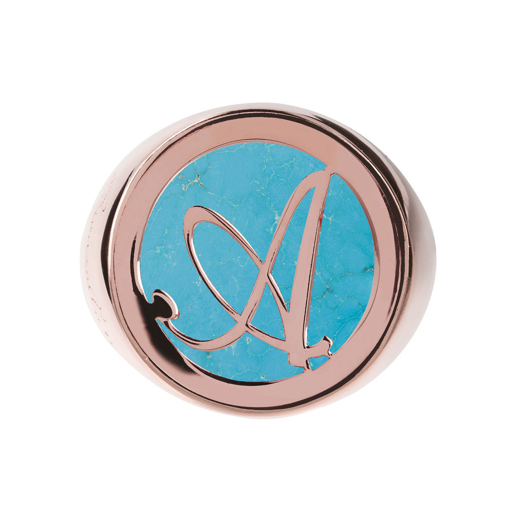 Letter a Ring MAGNESITE setting