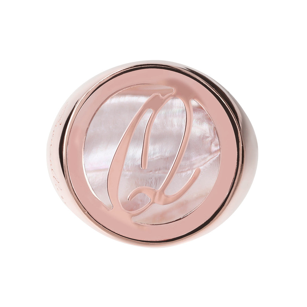 Letter q Ring PINK MOP setting