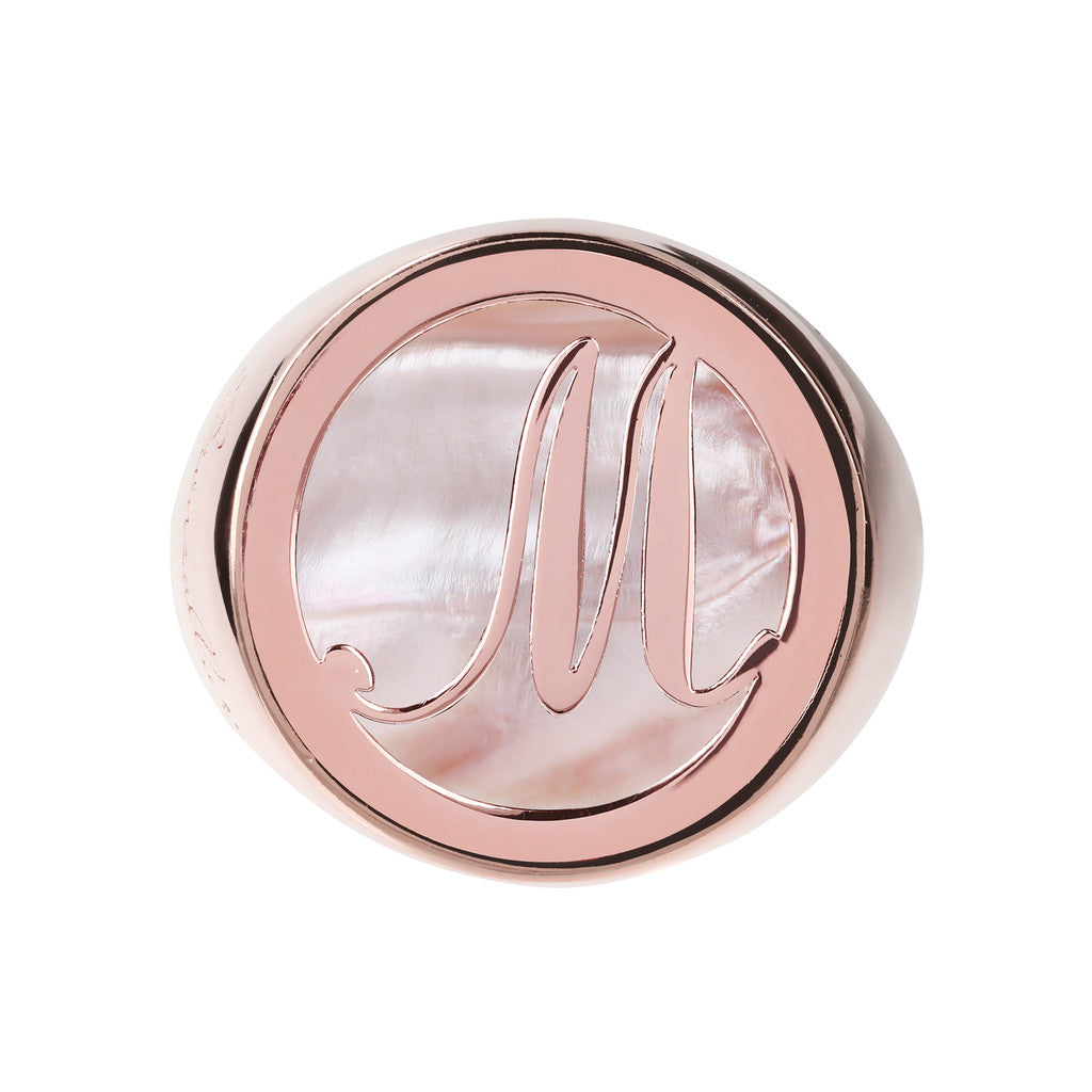 Letter m Ring PINK MOP setting