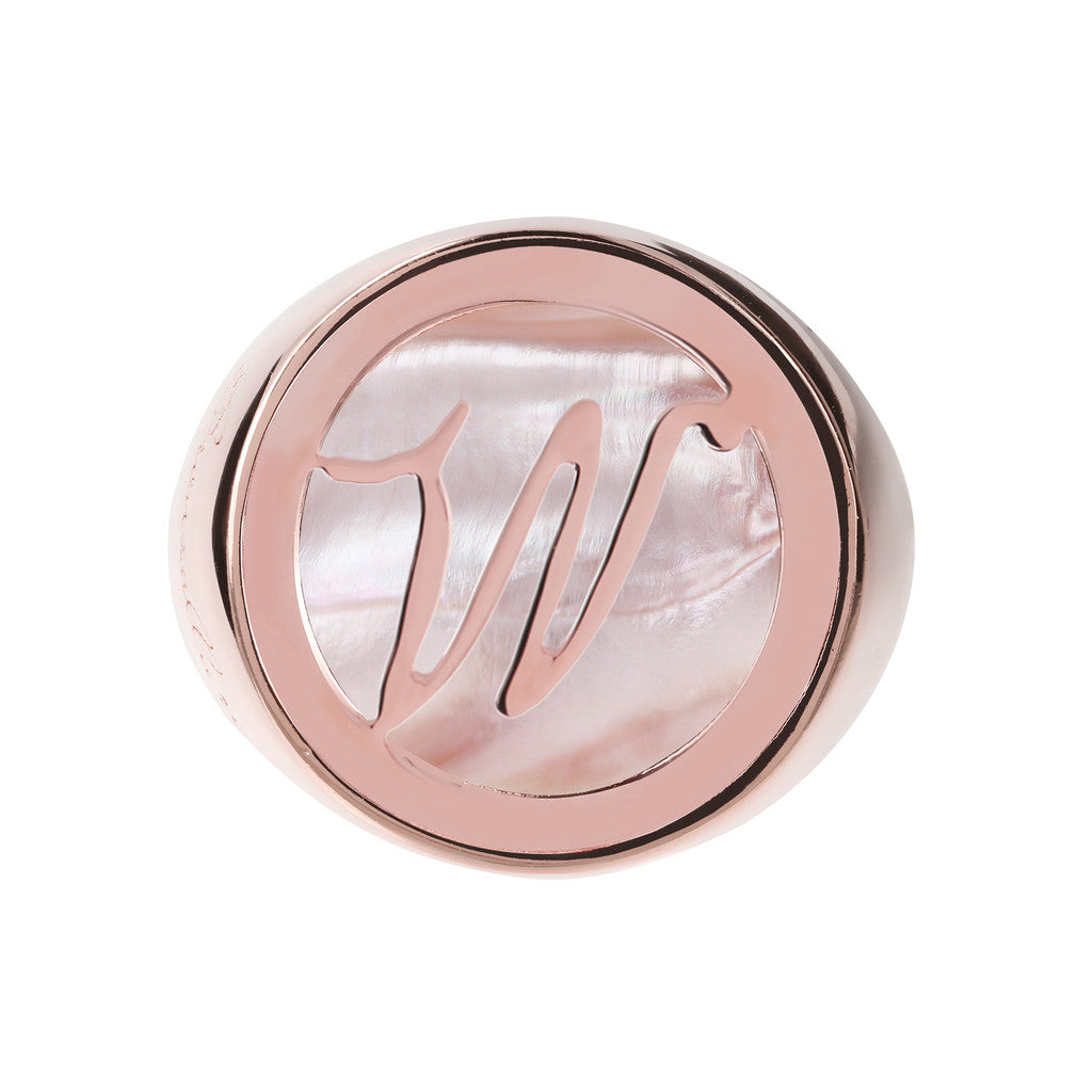 Letter w Ring PINK MOP setting