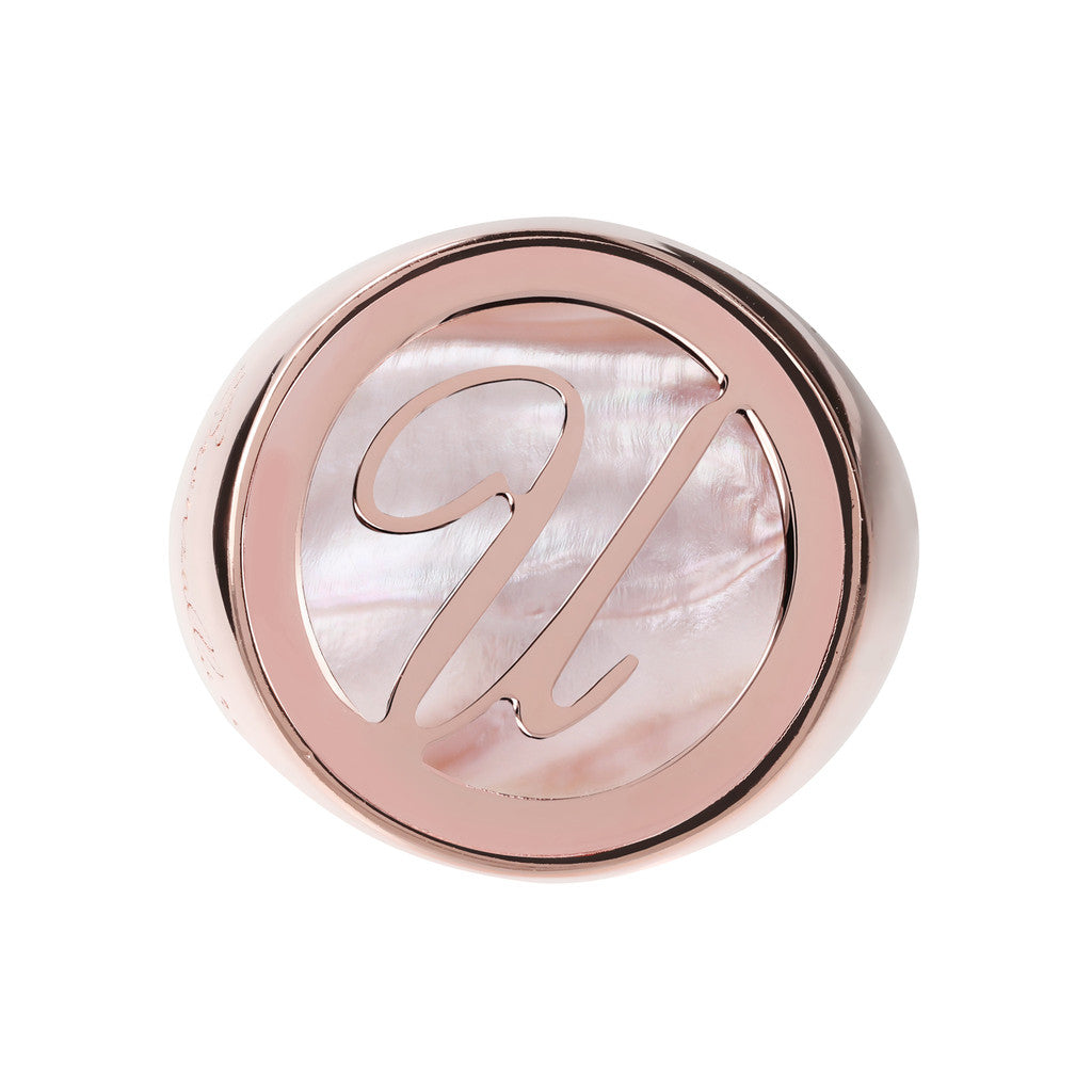 Letter u Ring PINK MOP setting