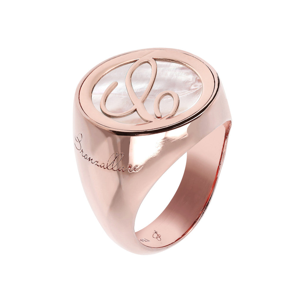 Letter c Ring PINK MOP