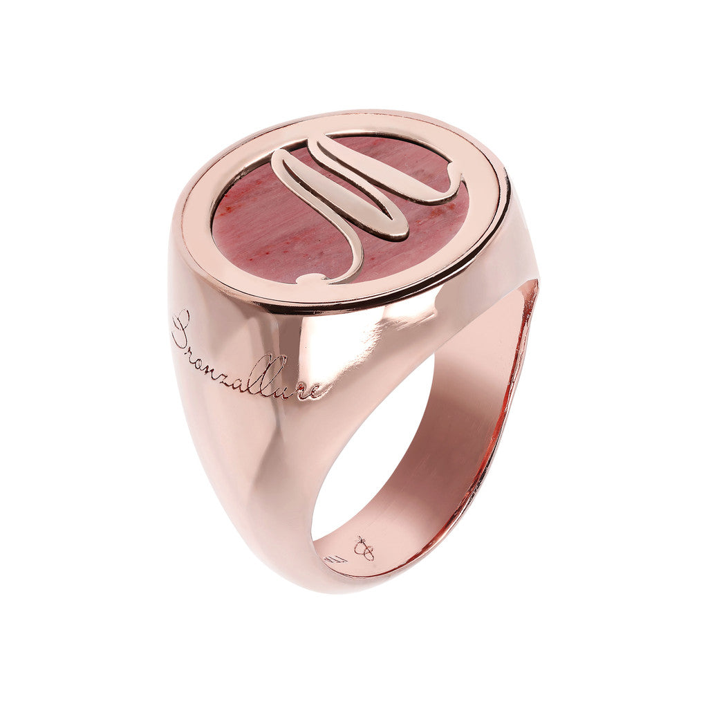 Letter m Ring RED FOSSIL WOOD