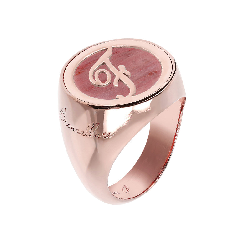 Letter Signet Ring  RED FOSSIL WOOD