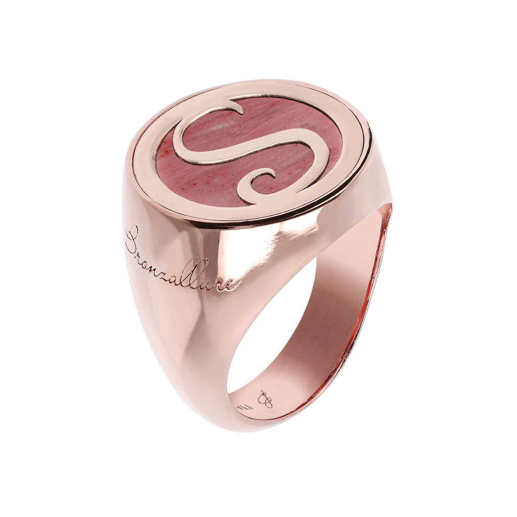Letter s Ring RED FOSSIL WOOD