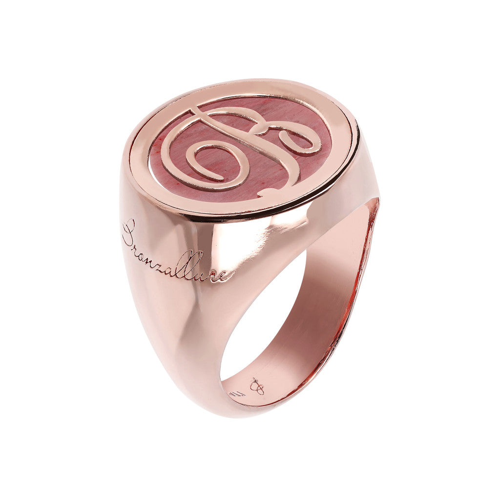 Letter b Ring  RED FOSSIL WOOD