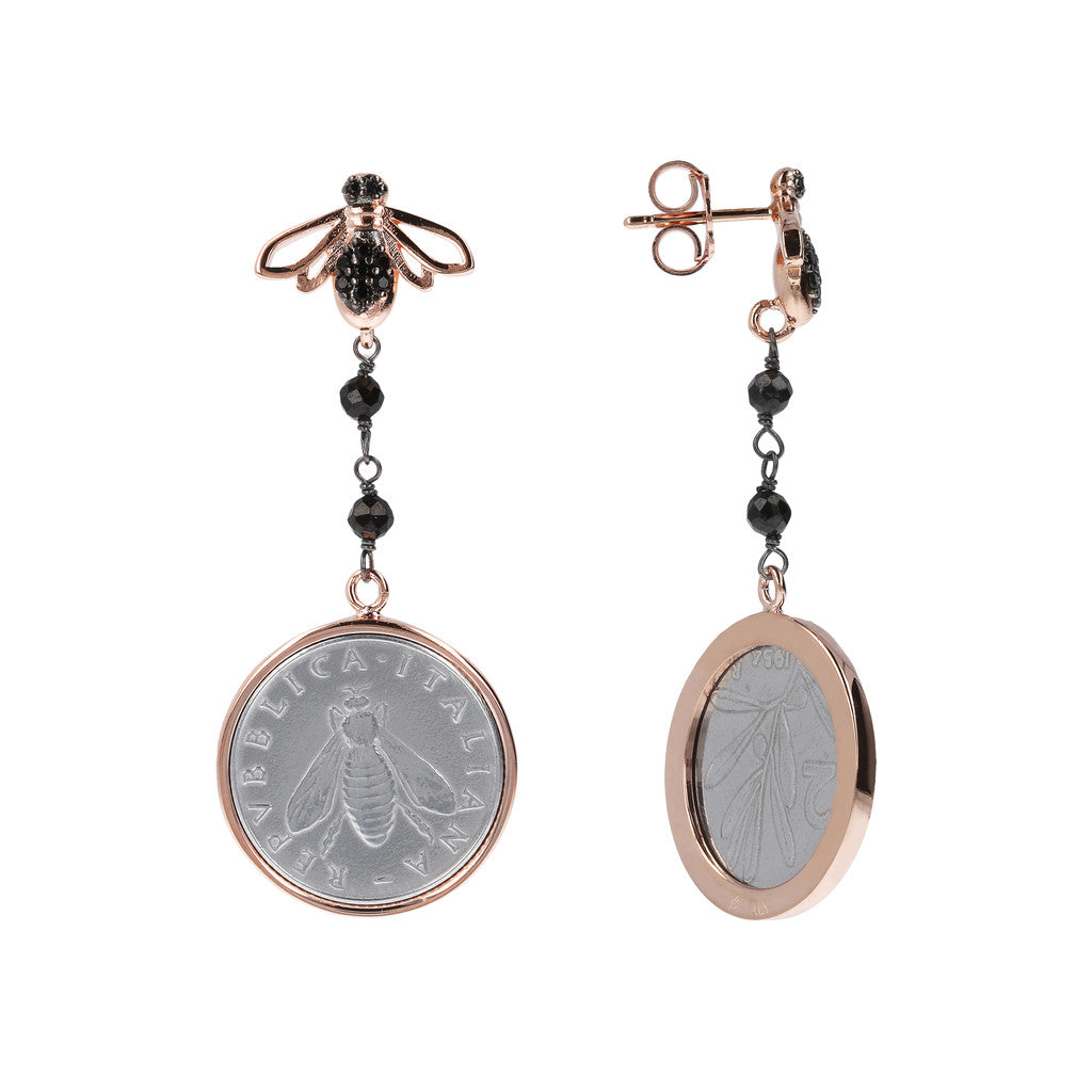 Lira and Bee Dangling Earrings Black Spinel front and side