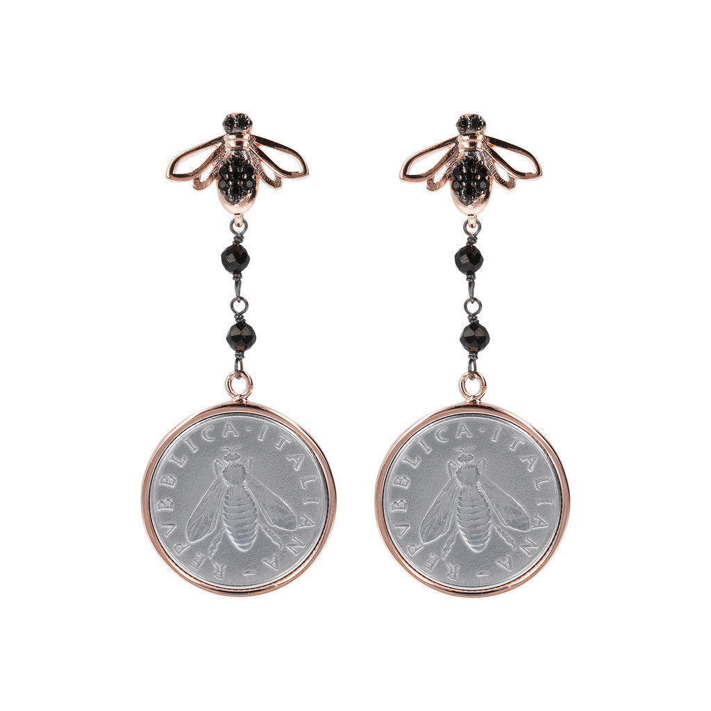 Lira and Bee Dangling Earrings Black Spinel