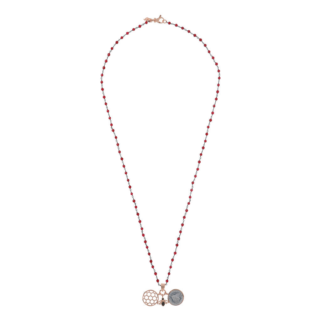 Lira Bee Hive Necklace RUBY CHALCEDONY from above