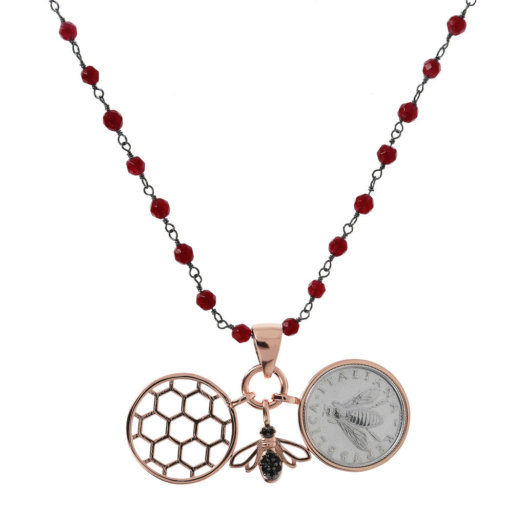 Lira Bee Hive Necklace RUBY CHALCEDONY