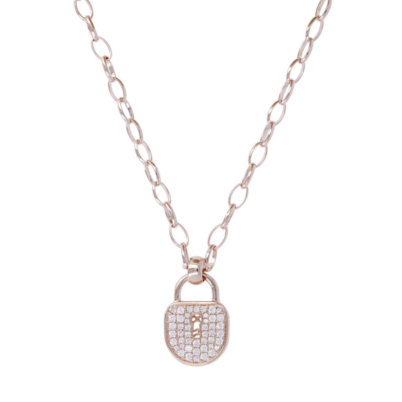 Lock Charm Necklace CUBIC ZIRCONIA