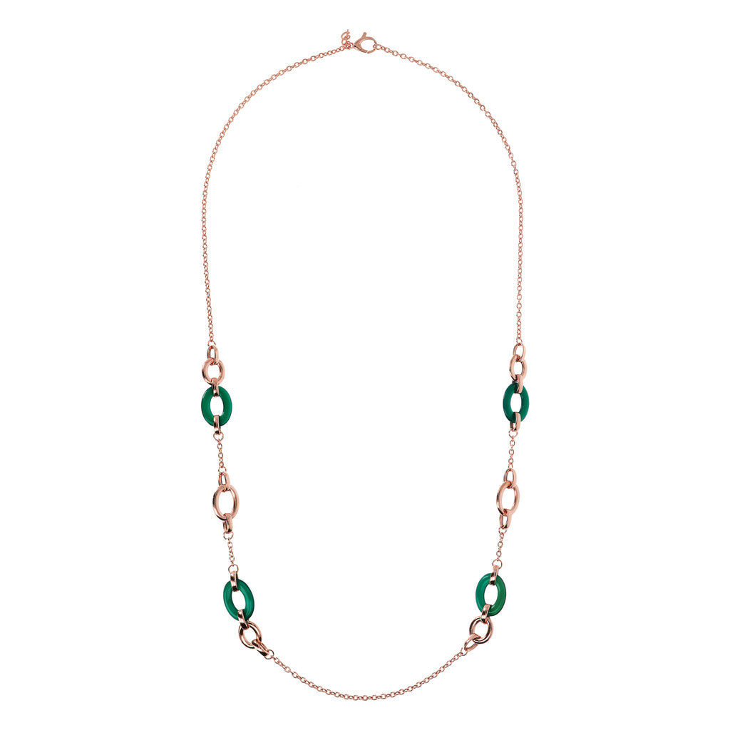 Long Necklace with Natural Stone Links GREEN CHALCEDONY from above