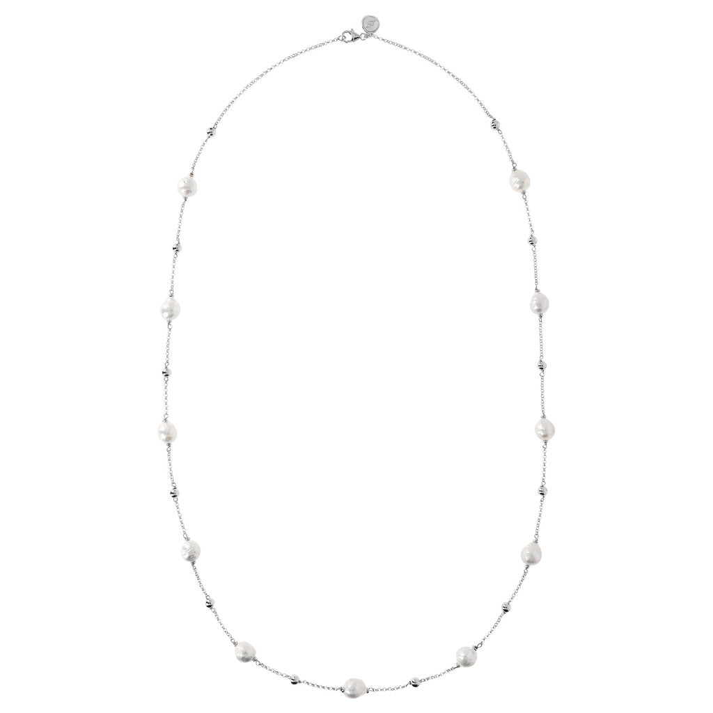 Long Necklace with Pearls Luna from above