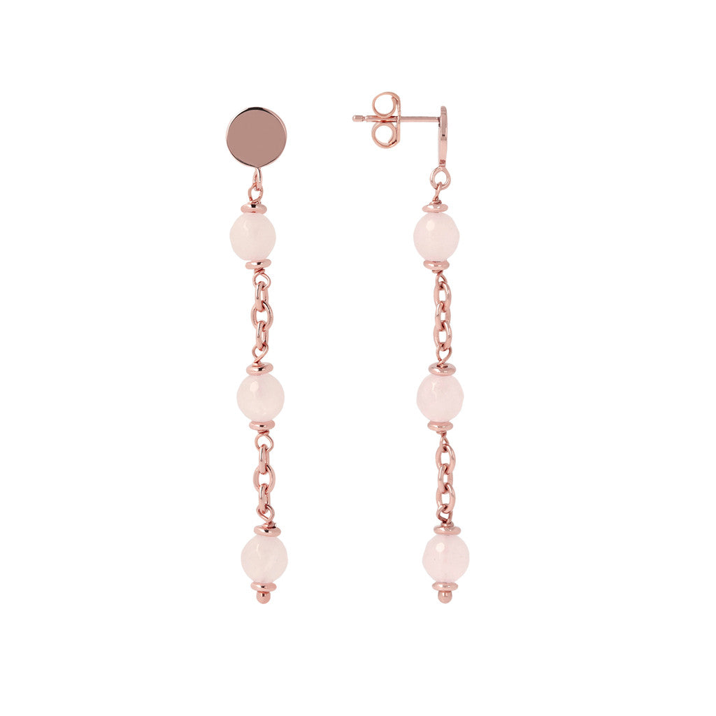 Longuette Earrings Natural Gemstone ROSE QUARTZ front and side