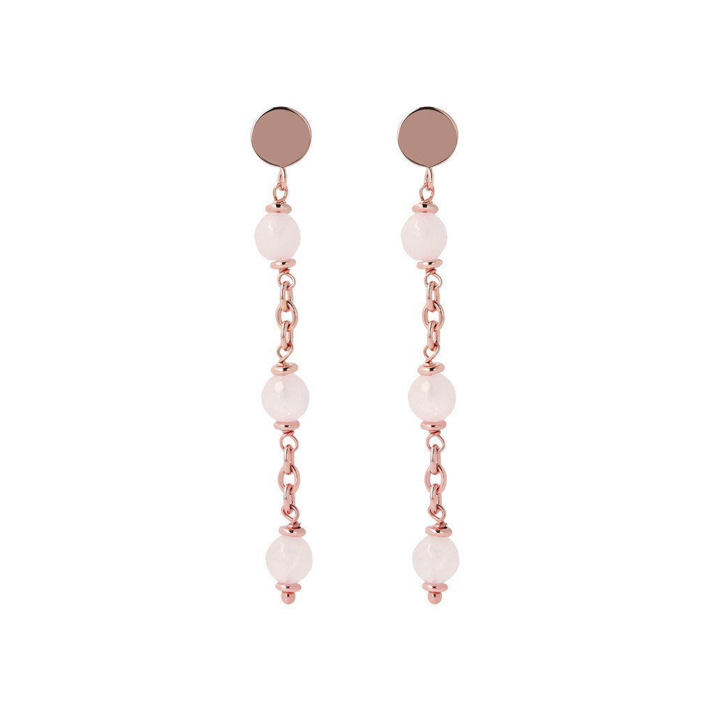 Longuette Earrings Natural Gemstone ROSE QUARTZ