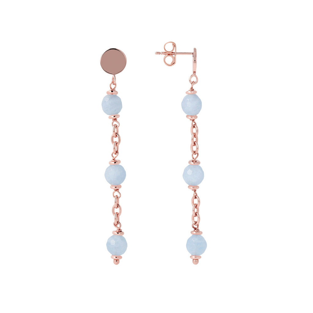 Longuette Earrings Natural Gemstone front and side