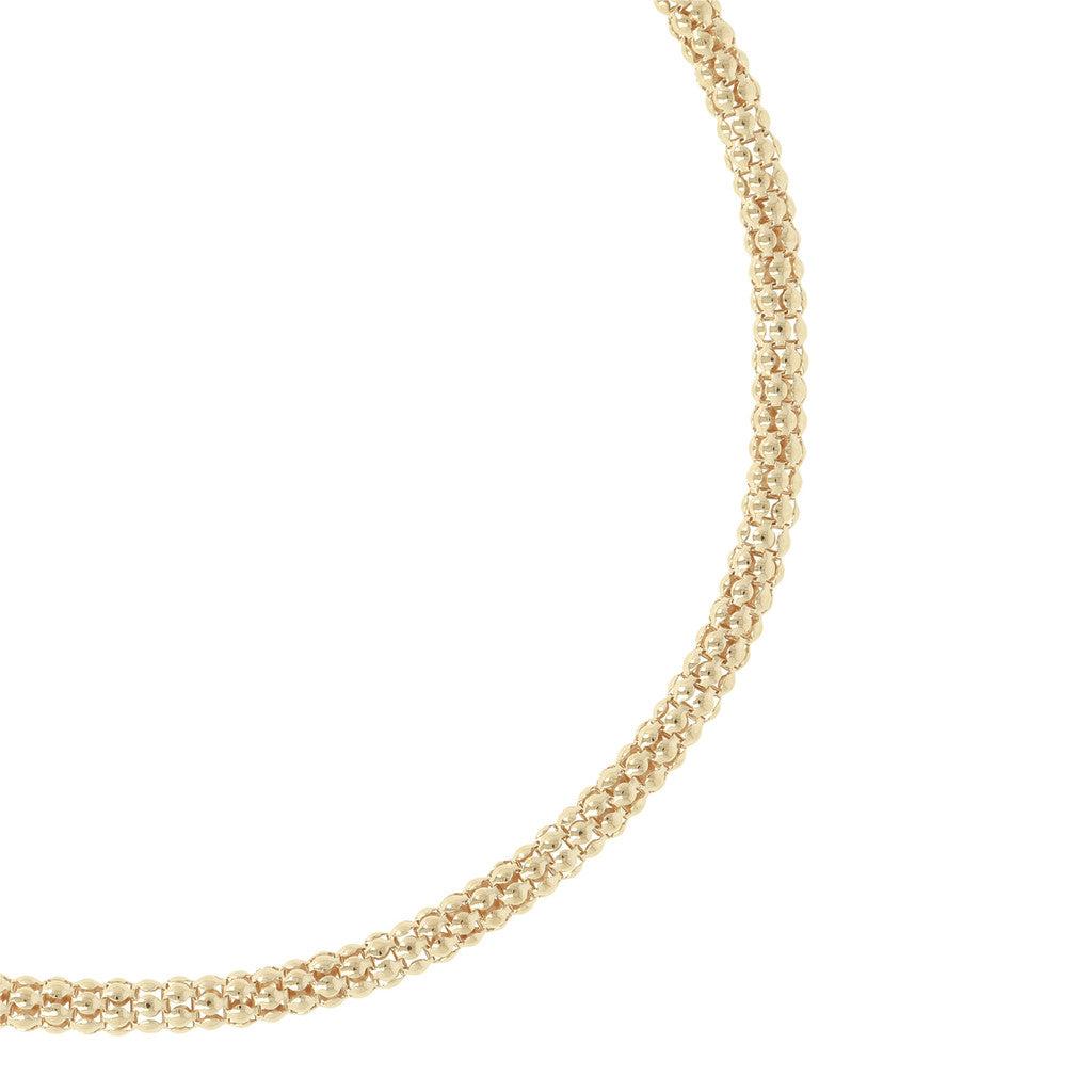 "PUREZZA BRONZALLURE GOLDEN 18"" POPCORN NECKLACE W/ MAGNETIC CLASP - WSBZ00401Y from above"