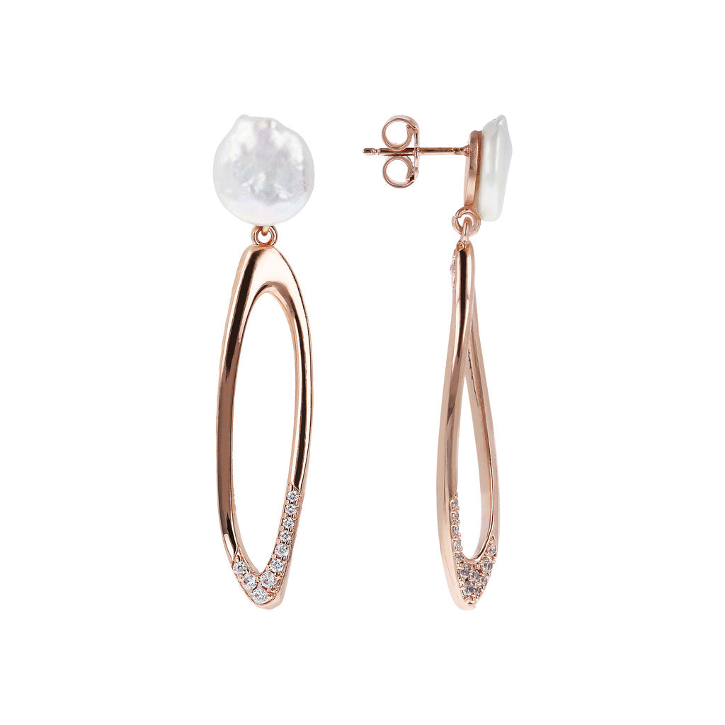 MAXIM MATERIA DANGLE EARRING WITH PEARL TOP AND FANCY ELEMENT - WSBZ01488 front and side