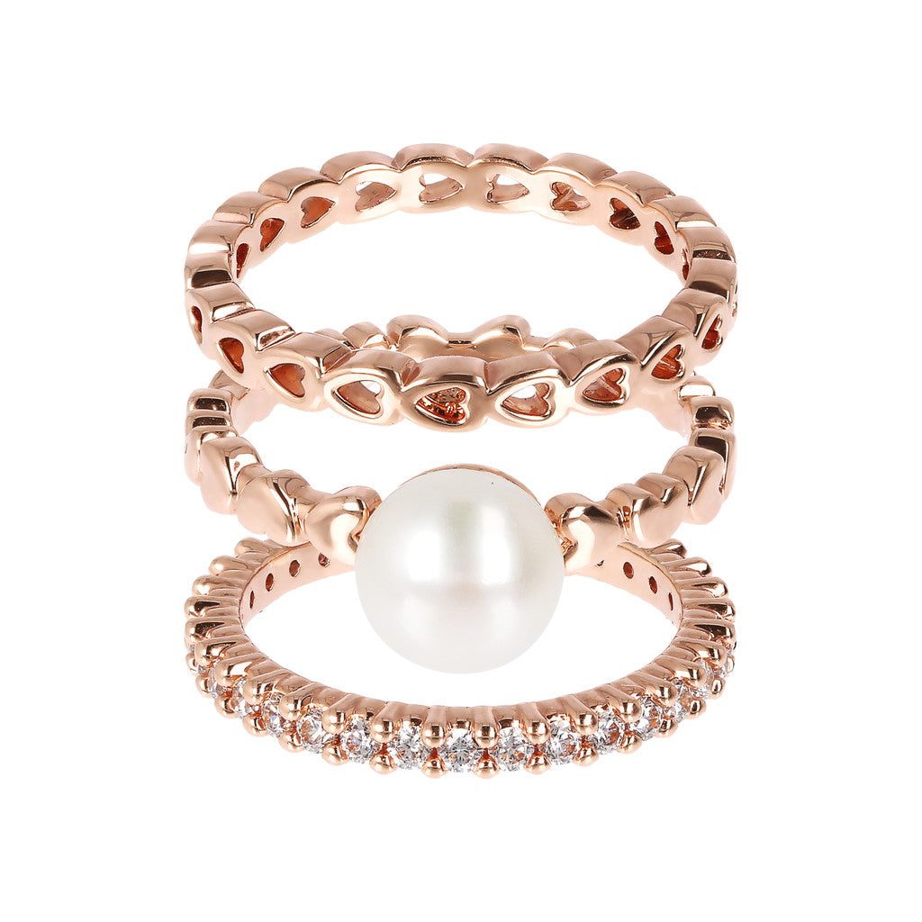 MAXIMA BRONZALLURE GOLDEN SET OF FANCY RING WITH CZ GEMSTONE AND BUTTON CULTURED PEARL - WSBZ01618 setting