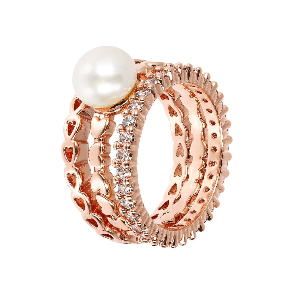 MAXIMA BRONZALLURE GOLDEN SET OF FANCY RING WITH CZ GEMSTONE AND BUTTON CULTURED PEARL - WSBZ01618