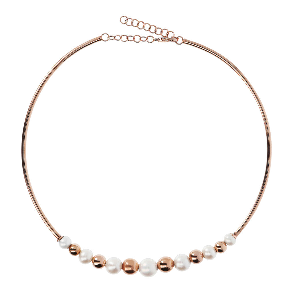 Chocker Necklace with Pearls and Golden Rosé Beads