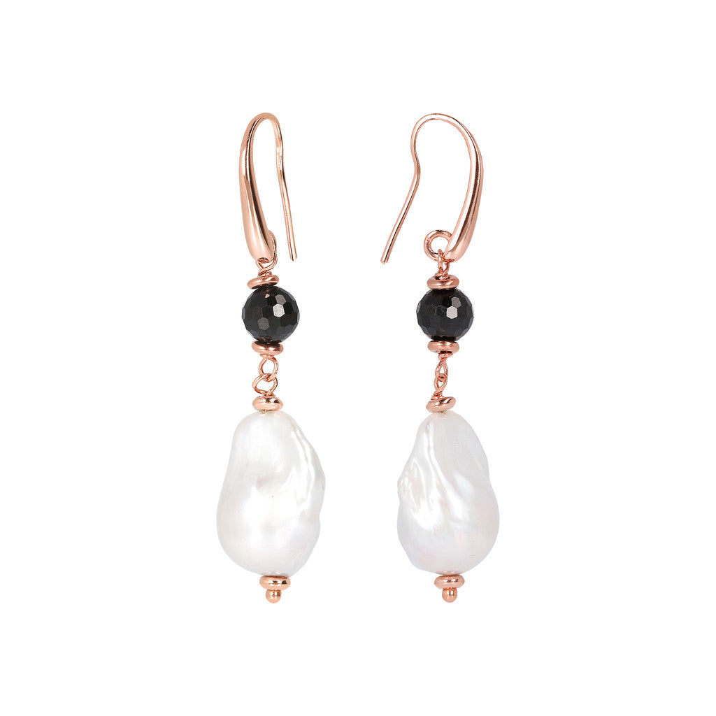 MAXIMA CULTURED PEARL AND BLACK SPINEL GEMSTONE DANGLE EARRINGS - WSBZ01674 front and side