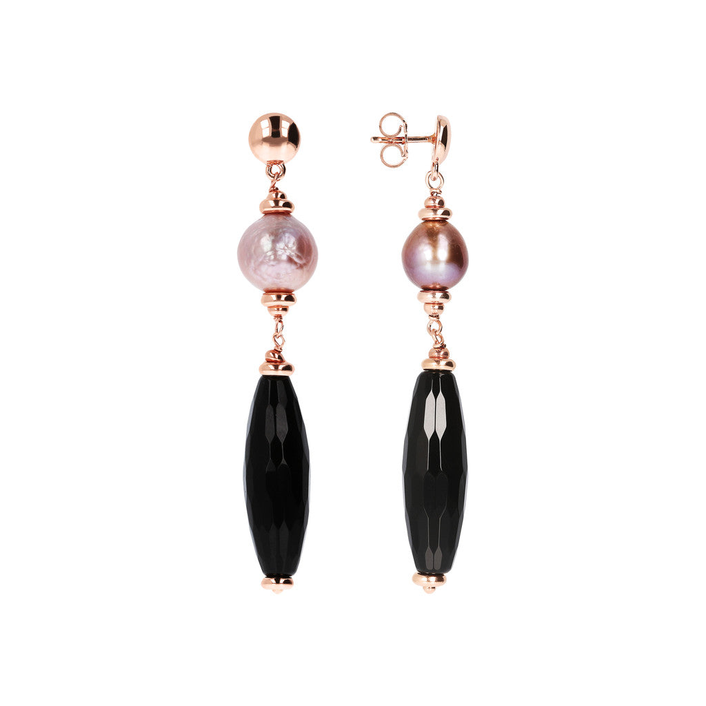 MAXIMA DANGLE EARRINGS WITH FACETED GEMSTONE & CULTURED PEARL - WSBZ01540 front and side