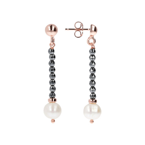 MAXIMA Freshwater Pearls and Hematite Earrings front and side