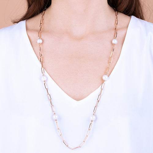 Bronzallure | Necklaces | MAXIMA LONG LINK NECKLACE WITH CULTURED PEARL - WSBZ01724