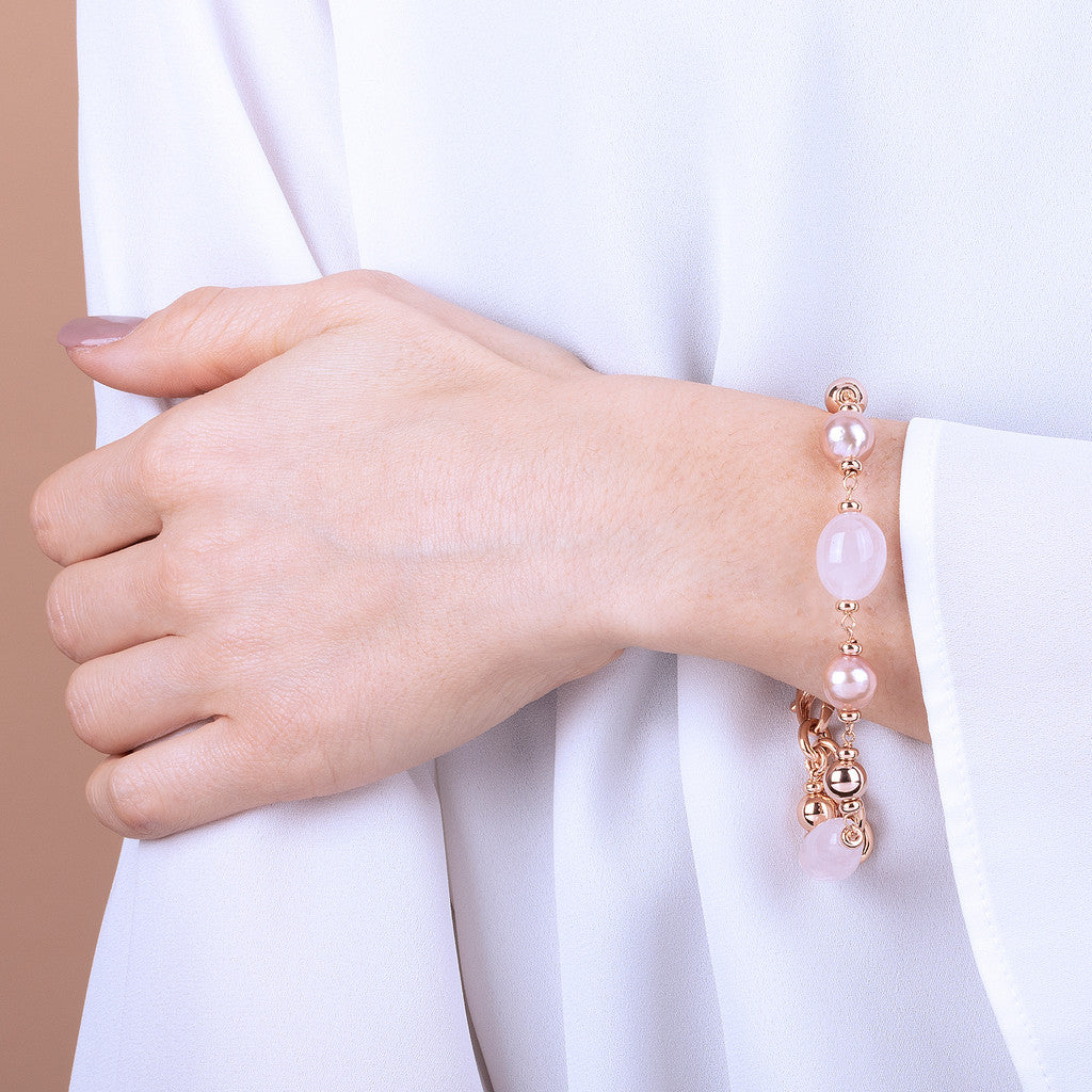 MAXIMA PINK QUARZITE AND CULTURED PEARL BRACELET - WSBZ01735