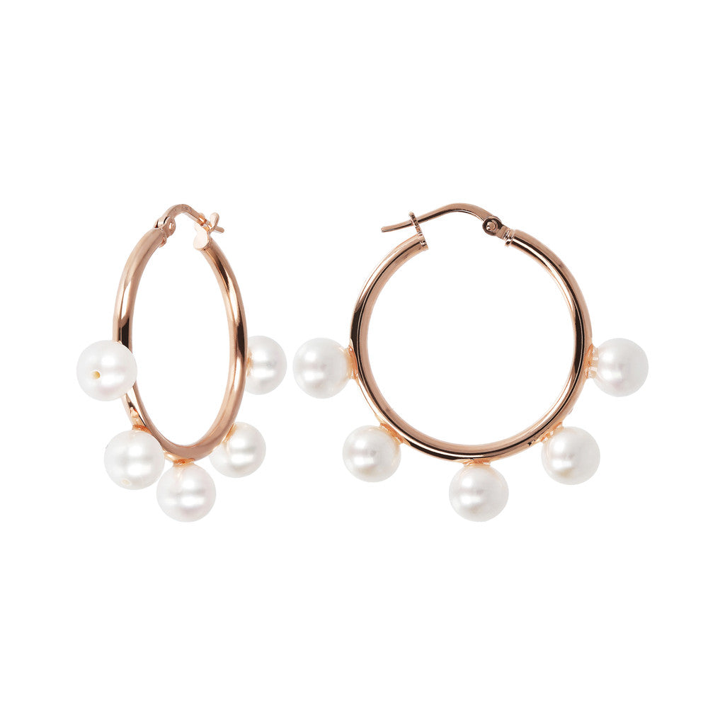 MAXIMA ROUND HOOP PEARL EARRINGS - WSBZ01631 front and side