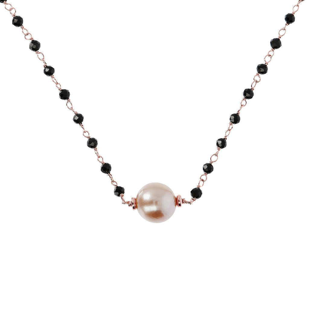 Black Spinel and Rose Pearl Necklace