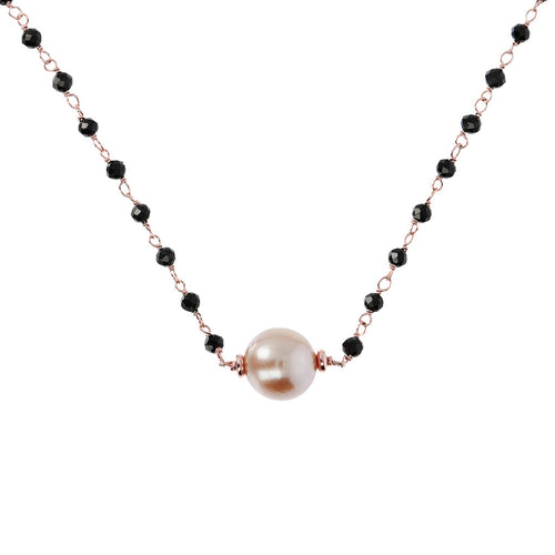 Black spinel and pearl necklace