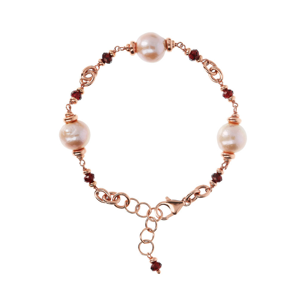 Bracelet with Ming Pearls and Garnet