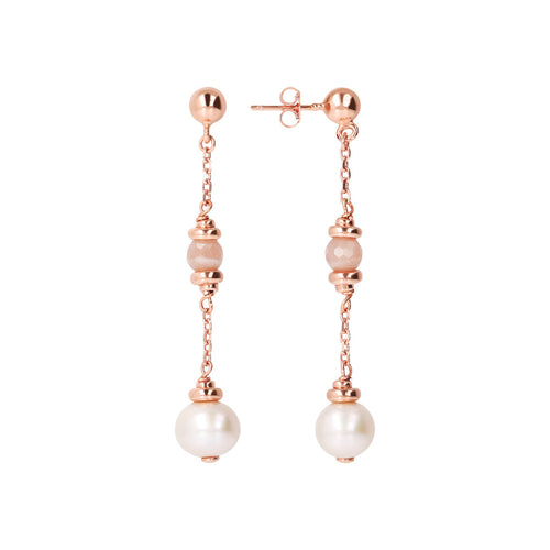 MAXIMA VARIEGATA Moonstone and pearl eARRING - WSBZ01688 front and side