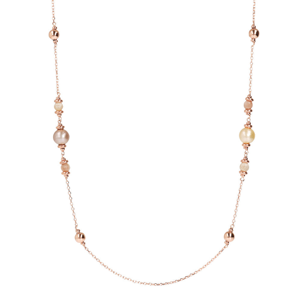 Peach Moonstone and Ming Pearls Necklace
