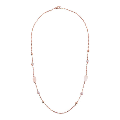 Bronzallure | Necklaces | MAXIMA VARIEGATA POLISHED OVAL ROLO NECKLACE WITH CULTURED PEARL AND PLAIN GEMSTONE - WSBZ01751