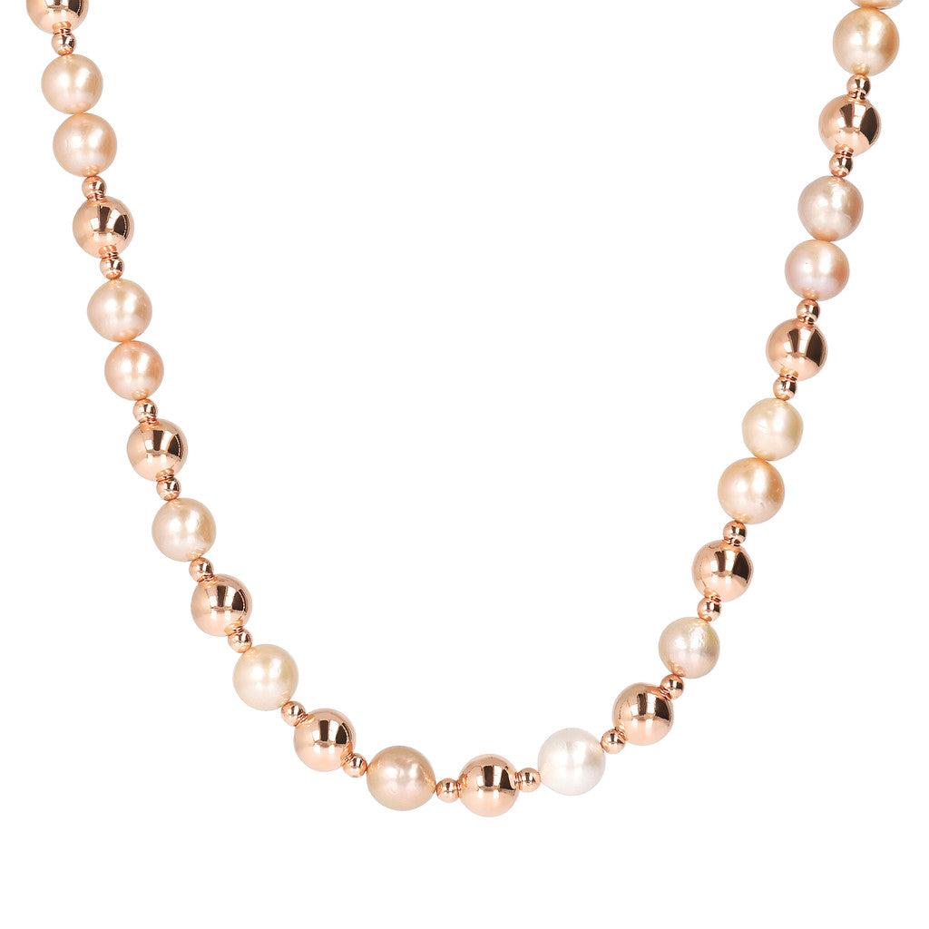 Ming Pearls and Golden Rosé Beads Necklace