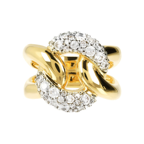 Maxi Chain Ring with Pavè CZ Yellow Gold setting